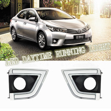 2PCs/set Super Bright LED DRL waterproof Daylight Daytime Running lights For Toyota Corolla 2014 2015 with fog lamp