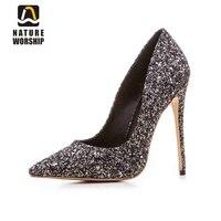 Robe à paillettes parti pompes glitter haute talons bout pointu pompes de noce chaussures bout pointu élégant chaussures de mariage femmes pompe