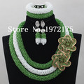 Free Shipping New Lady Necklace African Beaded Jewelry Set Bracelet Nigeria Style Wedding Event Jewelry Crystal PH00638