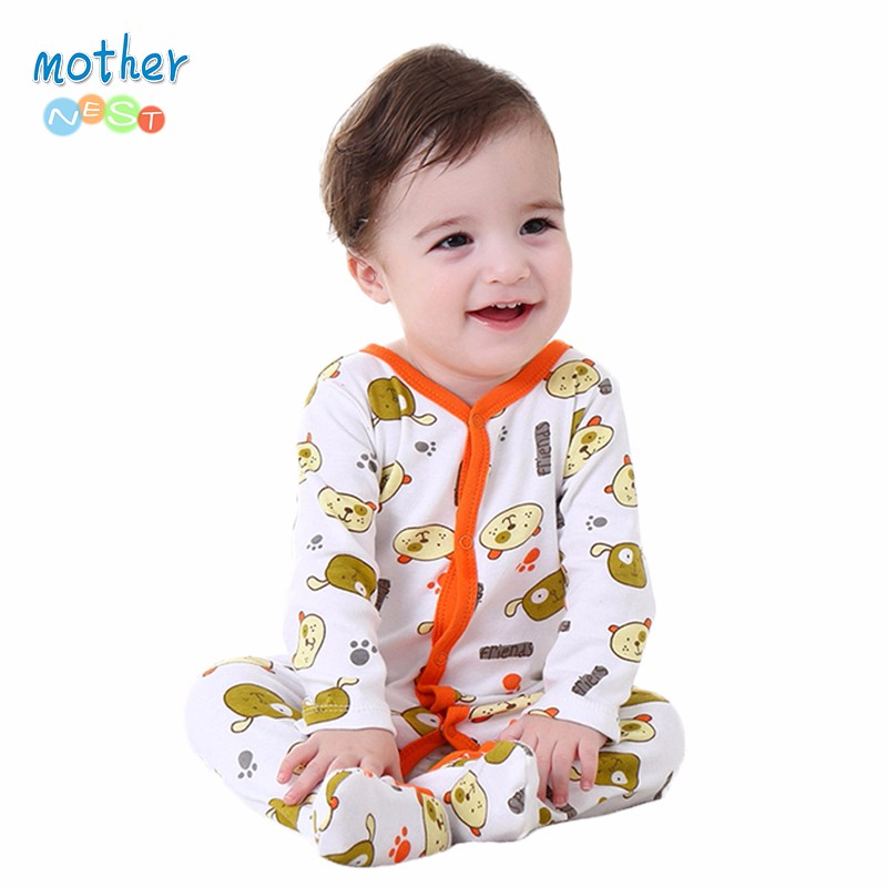 Mother Nest Baby Clothes Boy SpringAutumn 0-12 M Baby Romper Unisex Winter Bear Printed New Born Baby Clothing