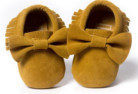New Red Gold Suede PU Leather Baby Moccasins Bow Bulk Soft Sole Girls Boys Shoes Kids BeBe Pattern 0-18M Hot Sale