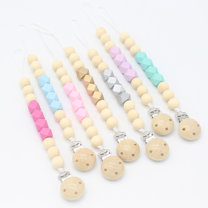 Wood Pacifier Clip Wooden Bead Dummy Clip Holder Cute Pacifier Clips Soother Chains Baby Teething Toy For Baby Chew