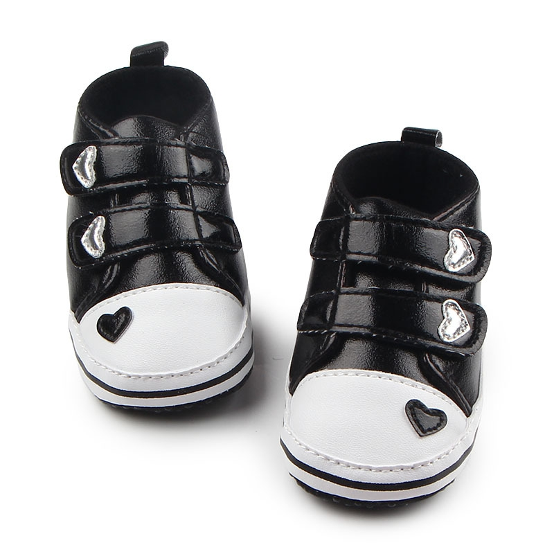 Baby First Walkers Boys Newborn Baby Girls Classic Heart-shaped PU Leather First Walkers Tennis Lace-Up Shoes