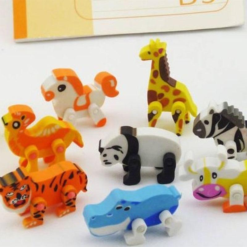 12 Different Animal Shaped Cartoon Eraser , Flexible Animal Eraser For School Students Pencil Eraser