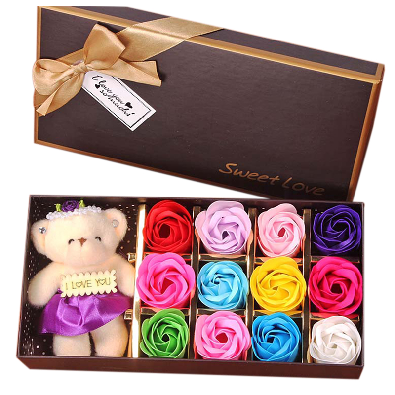 Wife Or Girlfriend Perfect Valentines Day Gift With A Bear For Mother color Sincere 1 Box Rose Flower Soap Gift Box For Bath