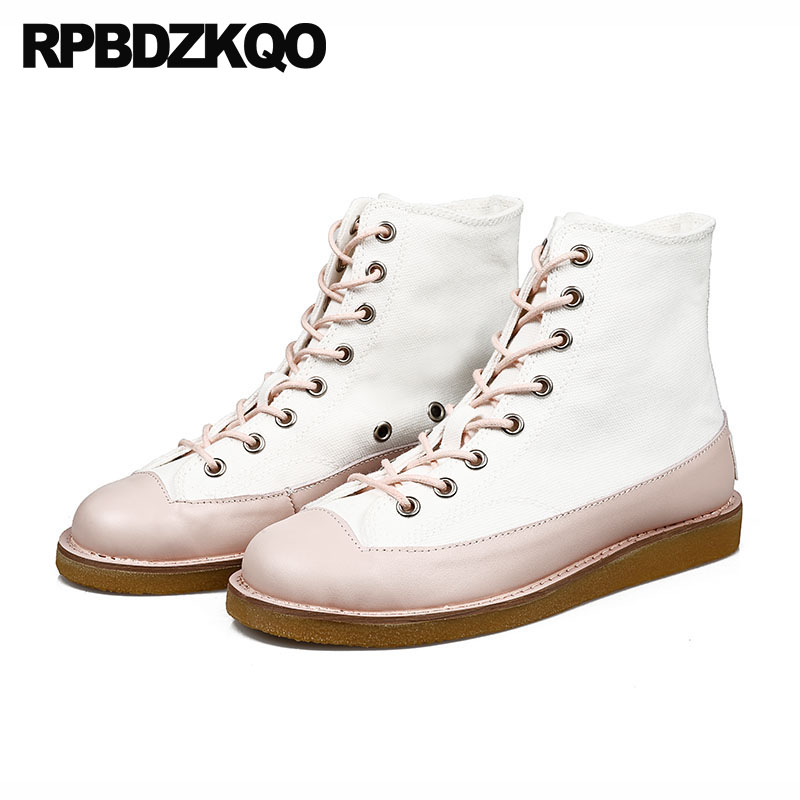 Booties Vintage Shoes White Women Front Lace Up Casual Ankle Boots Autumn Round Toe Japanese 2018 Canvas Sneakers Flat Patchwork недорго, оригинальная цена