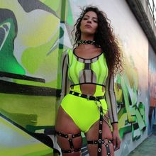 2019 Neon Women Bodysuits Sexy Backless Lemon Hollow Out Jumpsuits Summer Solid Beach Romers