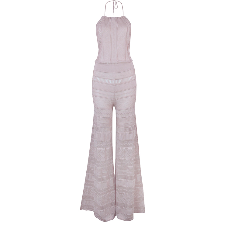 Top Quality Sexy Backless Beige Bandage Jumpsuit 2018 Elegant Knitted Designer Party Jumpsuit