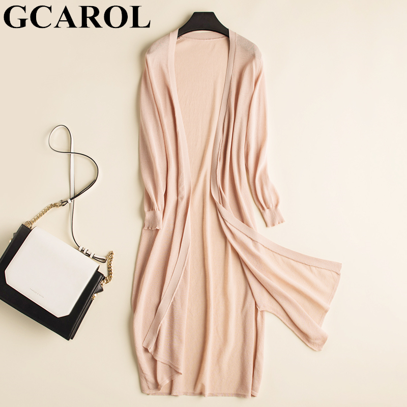 GCAROL Spring Summer Thin Ice Silk Long Cardigan Women Air-conditioner Knitted <font><b>Sweater</b></font> <font><b>3/4</b></font> <font><b>Sleeve</b></font> Open Stitch Sun Outfits S-XL image