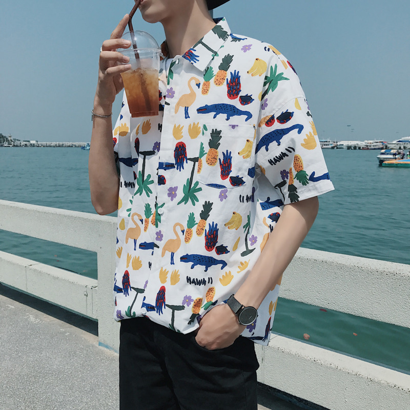spring and summer new men 39 s Hawaiian shirt long sleeved loose funny cartoon print fashion wild casual personality in Casual Shirts from Men 39 s Clothing