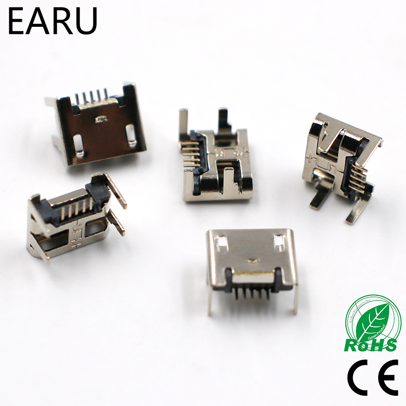 10pcs Micro USB Connector 5pin Seat Jack Micro Usb Four Legs 5P Inserting Plate Seat Mini Usb Connector Free Shipping
