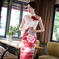 National chinese shanghai  cheongsam Dresses long design elegant short-sleeve slim costume white red