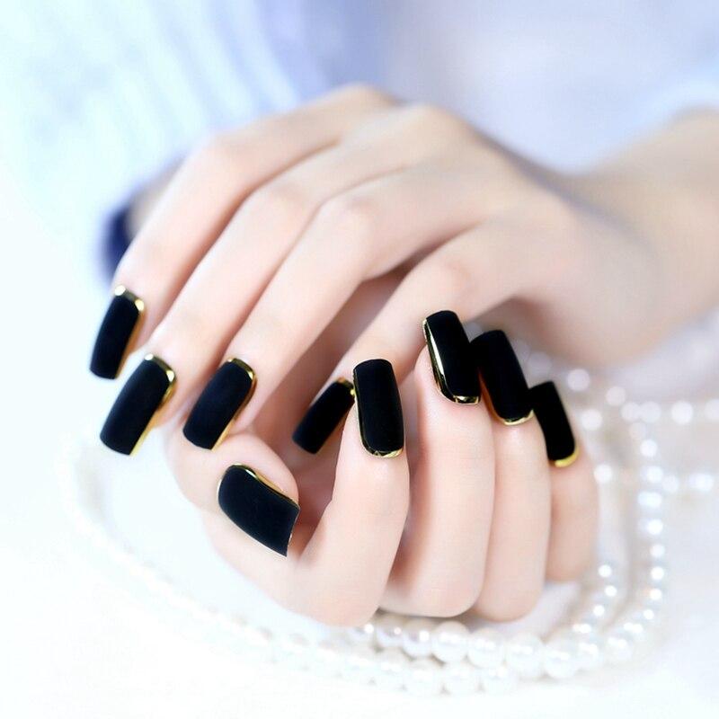 petit faux ongles longs taille noir or fran ais ongles carr mat presse sur les ongles conseils. Black Bedroom Furniture Sets. Home Design Ideas