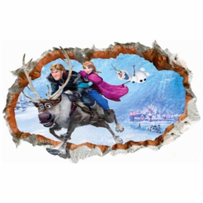 Póster de pared de la princesa Elsa Anna para niños y niñas, decoración en 3d de dibujos animados de vinilo, 90x60cm