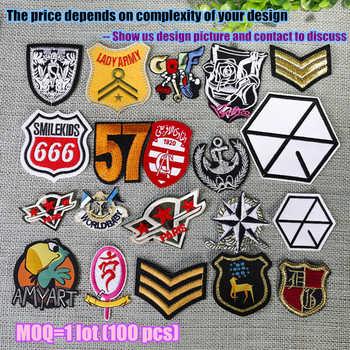 เหล็กปักที่กำหนดเองแพทช์เย็บปักถักร้อยที่กำหนดเองโลโก้ทหาร badge tag 100 pcs lot