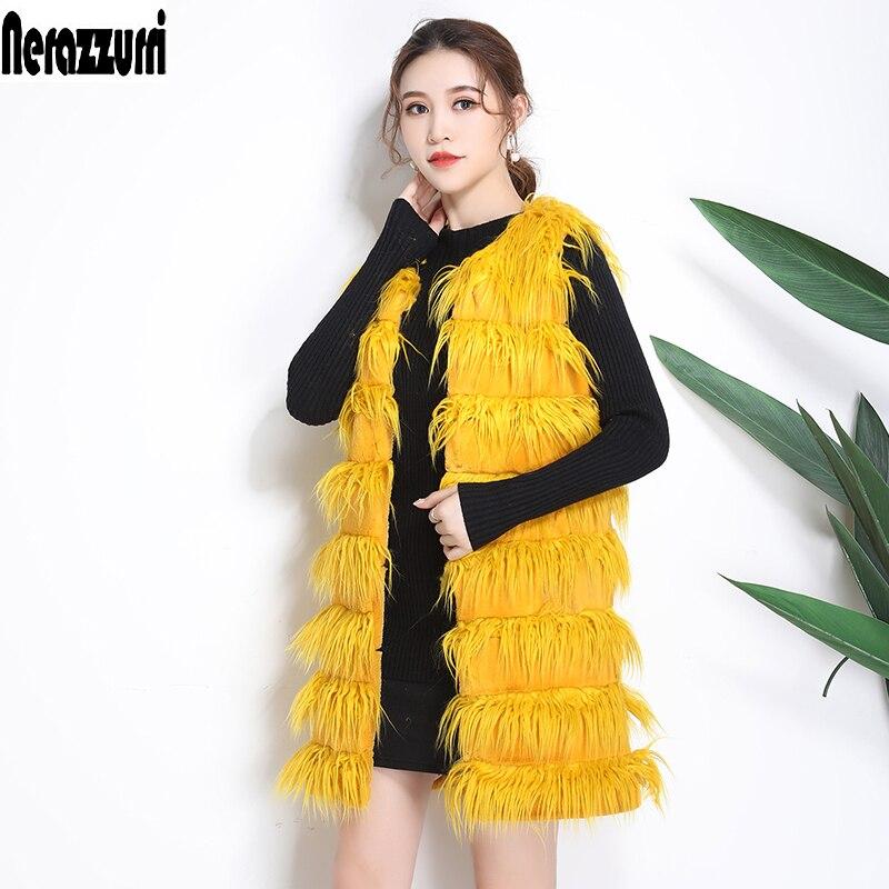 Grande D'hiver 2018 Rayé Yellow Jaune Taille Veste Manteau De Longue 5xl 6xl Nerazzurri Manches Nouveau Fourrure 7xl Faux Sans En Chaud Mode L5j4R3A