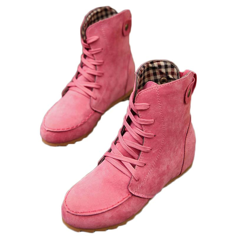 Lace-up lady stripe lining flat with Martin boots inside the raised round head to keep warm British lace fashion bootsLace-up lady stripe lining flat with Martin boots inside the raised round head to keep warm British lace fashion boots