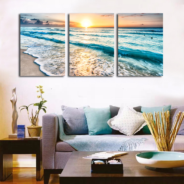 Seascape Sunset Triptych Wall Art 3 Piece Sea Waves Photography Frameless  Painting Set Prints Canvas Art