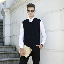 New for Autumn Winter Men's Fashion Clothing V Neck Wool Sweater Pullover Tops Casual Fashion Sleeveless Basic Knit Vest 618