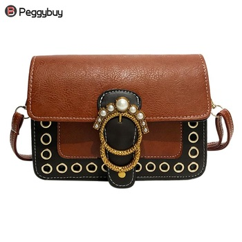 d4e003b94 Mujeres PU cuero cadena Vintage Mini Flap perla señoras monedero bolsos  Crossbody bolsos hombro Casual bolso femenino pequeño bolso