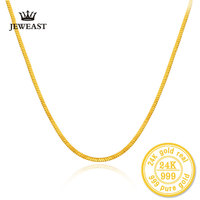 24k Gold Pure Yellow Necklace Fashion Snake Bone Chain Au 999 Female And Male Wedding Gift Exquisite Jewelry Hot Sale Trendy