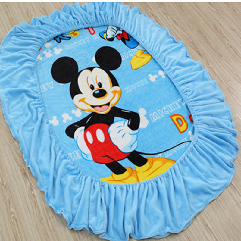 Disney Sky Blue Mickey Mouse Super Soft Flannel Fitted Sheet Mattress Cover Single Twin