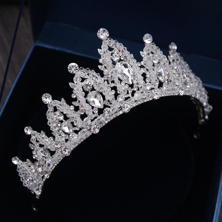 Baroque Luxury Handmade Rhinestone Bridal Crown Tiaras Silver Crystal Diadem Tiaras for Bride Headbands Wedding Hair Accessories 9
