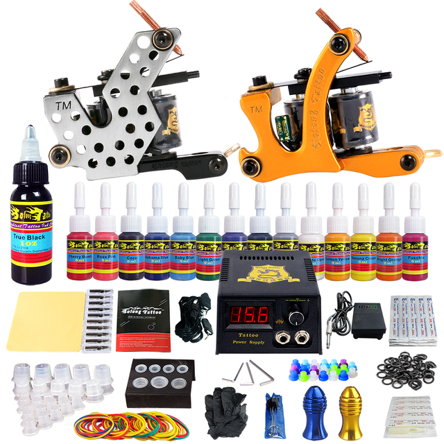 Complete Tattoo Kits 10 wrap Coils Guns Machine 54Color Black Tattoo Ink Sets Power Supply Disposable Needle TK212 free shipping