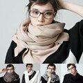 2015 Otoño Invierno Nueva Marca de Moda de Lana Mezclas Mujeres de Los Hombres Abrigo de la bufanda Del Mantón de Hijab Sólido Suave Larga Caliente de Espesor de Alta calidad