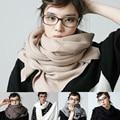 2015 Outono Inverno Nova Marca de Moda Das Mulheres Dos Homens de Misturas De Lã Envoltório do lenço do Xaile Hijab Sólida Longo Macio e Espesso Quente Alta qualidade