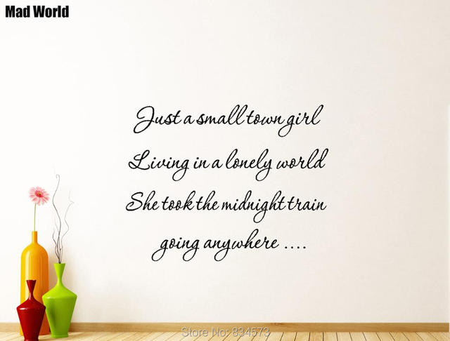 Small Town Girl Journey Quotes Music Lyrics Wall Art Stickers Wall