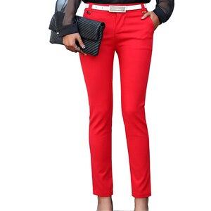 Image 2 - 여성 연필 바지 2019 가을 높은 허리 숙녀 사무실 바지 캐주얼 여성 슬림 Bodycon 바지 탄성 Pantalones Mujer