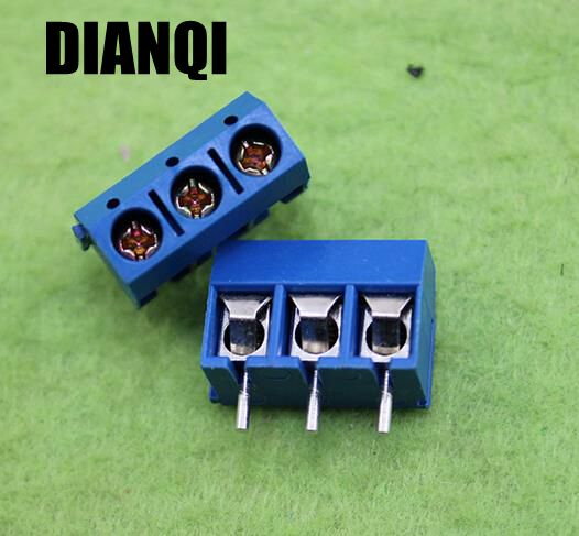 High Quality 50 pcs 3 Pin Screw Terminal Block Connector 5mm Pitch
