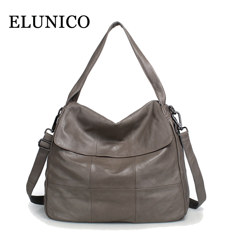 ELUNICO Genuine Leather Wome's Bag 2018 New Large Capacity Tote Bags Handbags Women Famous Brands Cow Leather Shoulder Bag Bolsa elunico 2018 new large capacity cowhide tote bags handbags women famous brands genuine leather messenger shoulder bag sac a main