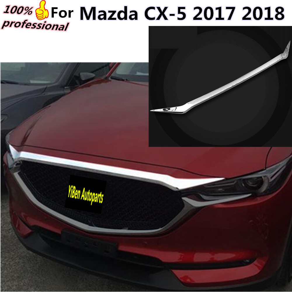 Car garnish ABS Chrome front engine Machine grille upper hood stick lid trim lamp hoods 1pcs For Mazda CX-5 CX5 2017 2018 for mazda cx 5 cx5 2nd gen 2017 2018 interior custom car styling waterproof full set trunk cargo liner mats tray protector