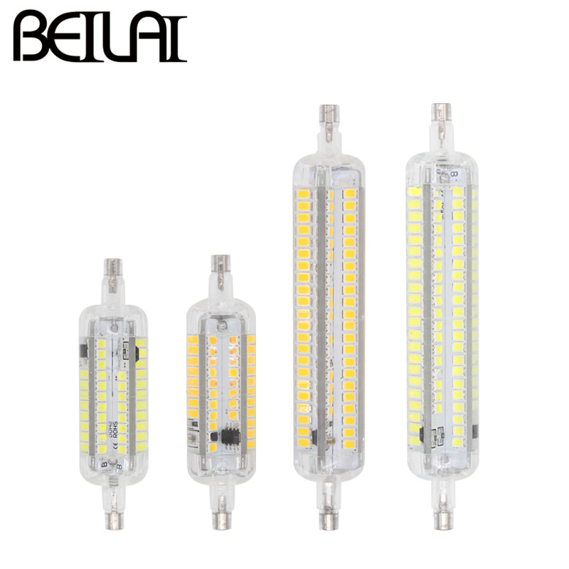 BEILAI 2835 R7S LED Lamp 220V 5W 10W Silicone Light R7S LED 118mm J118 78mm J78 Spotlight Segmented Dimmer Replace Halogen Light high power dimmable 189mm led r7s light 50w cob r7s led lamp with cooling fan replace 500w halogen lamp