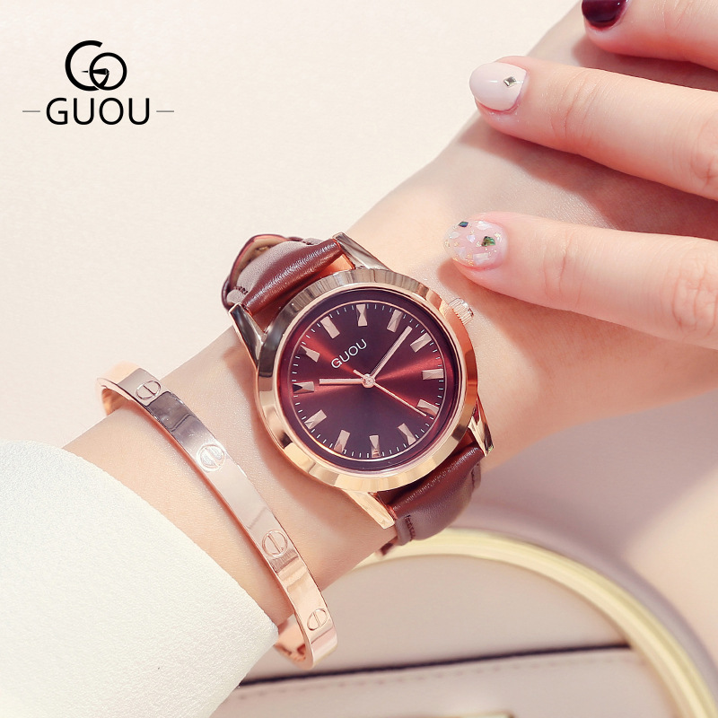 2019 new arrival women golden color round dial leather watchband fashion leisure quarz lady wrist watch G60052019 new arrival women golden color round dial leather watchband fashion leisure quarz lady wrist watch G6005