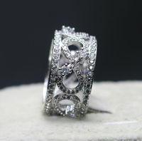 Sz 6 9 Scroll Band Ring 10mm Wide 200pcs CZ White Gold Filled Women Ring Free