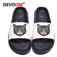 Ladies Slippers Comfortable Cat Tiger Slippers Women Teenslippers Women Fashion Slipers 2019 Summer Flip Flops White Slipper New