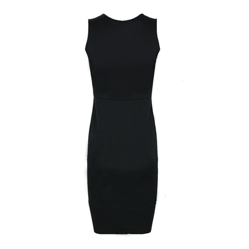 72724abd11b Leather Patchwork Women Pencil Dress Bodycon Sleeveless Round Collar Tall  Waist Female black party Dresses-in Dresses from Women's Clothing &  Accessories on ...