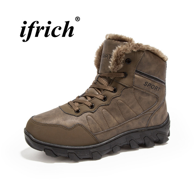 2018 Winter Best Selling Snow Men Shoes Brown Black Hunting Boots Anti-Slip  Casual Shoes For Male Large Size 45 46 Mens Boots ab7f8ba45437