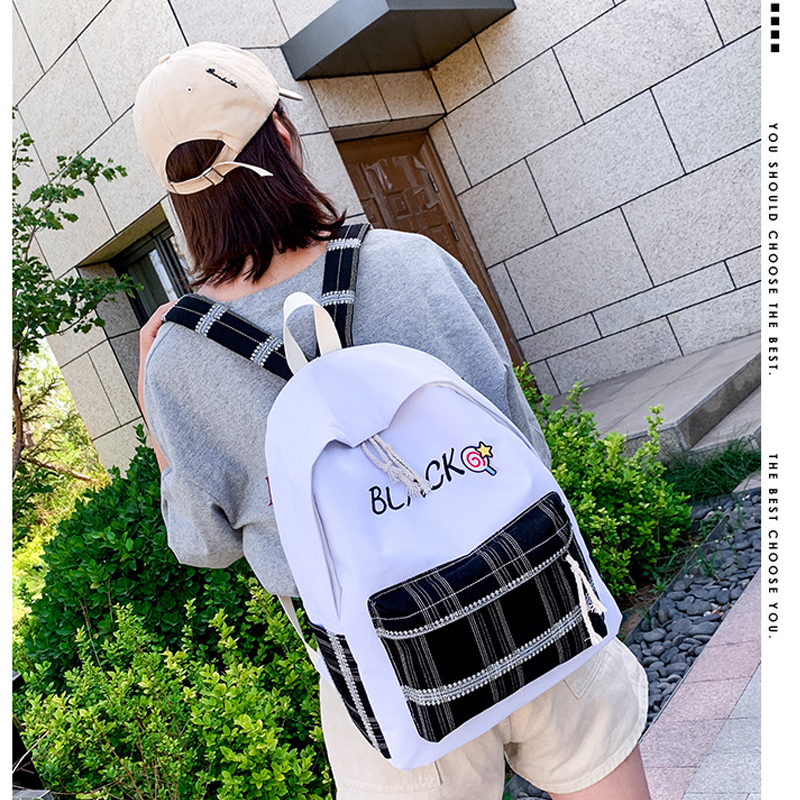 Vintage women canvas backpack school bag for girl ladies fashion personality leisure girls teenage