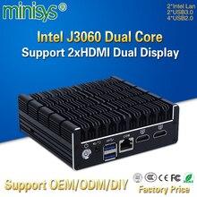 MINISYS Ultra Small Mini Pocket Office Computer Intel Celeron J3060 Dual Lan AES-NI Pfsense VPN Nettop PC with RJ45 Console COM
