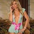 Europa y Estados Unidos estilo caliente de las mujeres de la ropa interior exótica atractiva camisón de seda del brote arco profundo escote en V vestido de la correa al por mayor y venta al por menor