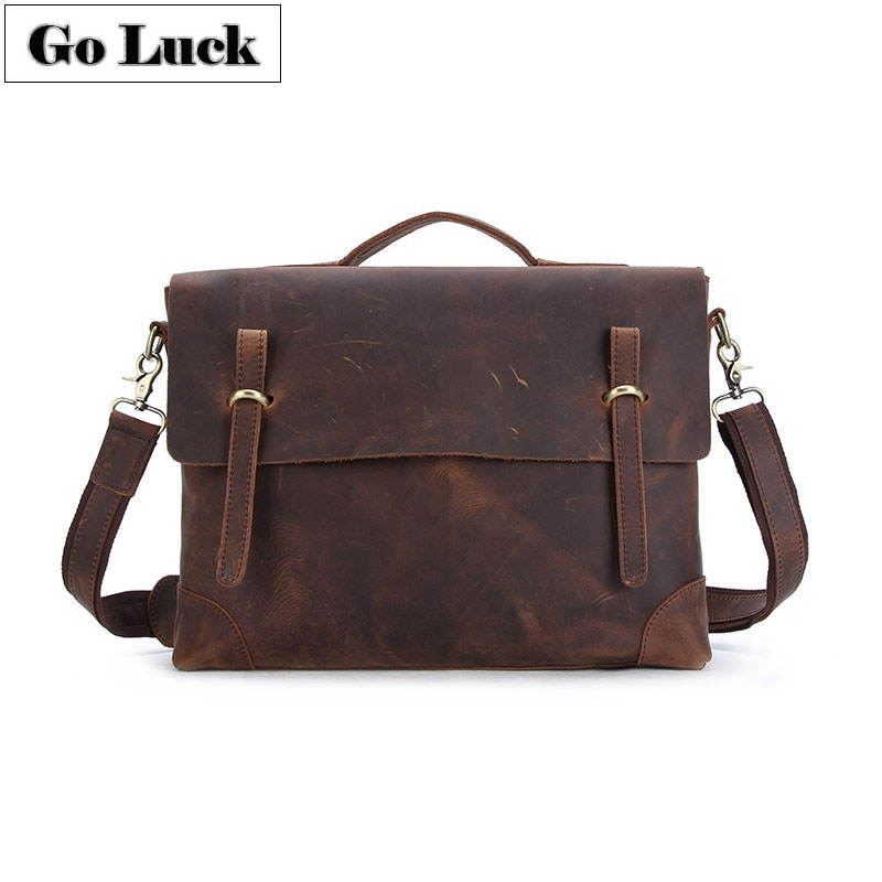 GO-LUCK Brand Crazy Horse Genuine Leather Business Briefcase Top-handle Handbag Men Crossbody Shoulder Bag Men's Messenger Bags
