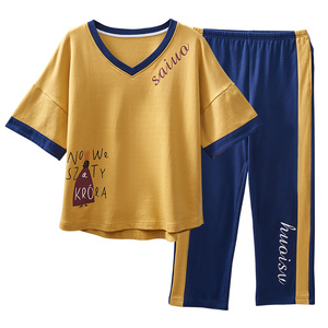 Image 4 - Été coton ensemble de pyjamas femmes doux dessin animé à manches courtes pantalon deux pièces costume mode maison vêtements pour femmes M L XL XXL