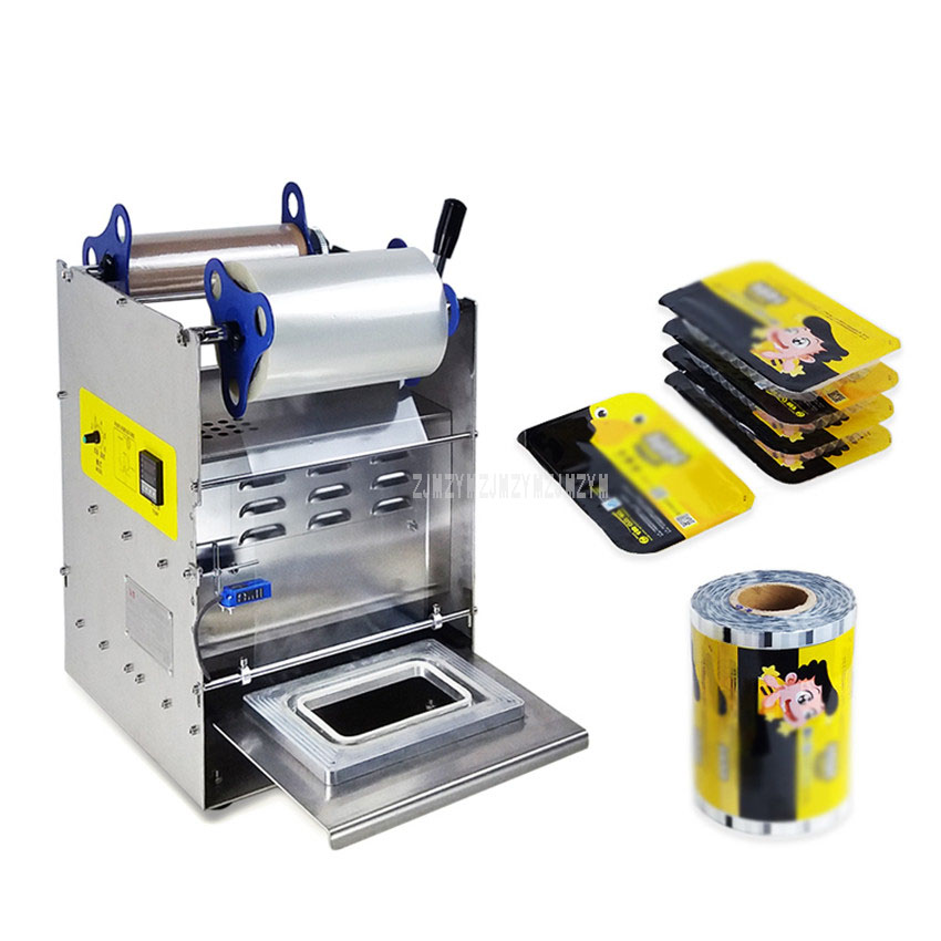 Hand Press 20*14cm Square Box Packaging Machine Stainless Steel Electric Semi-Automatic Fast Ready Food Tray Sealing Machine