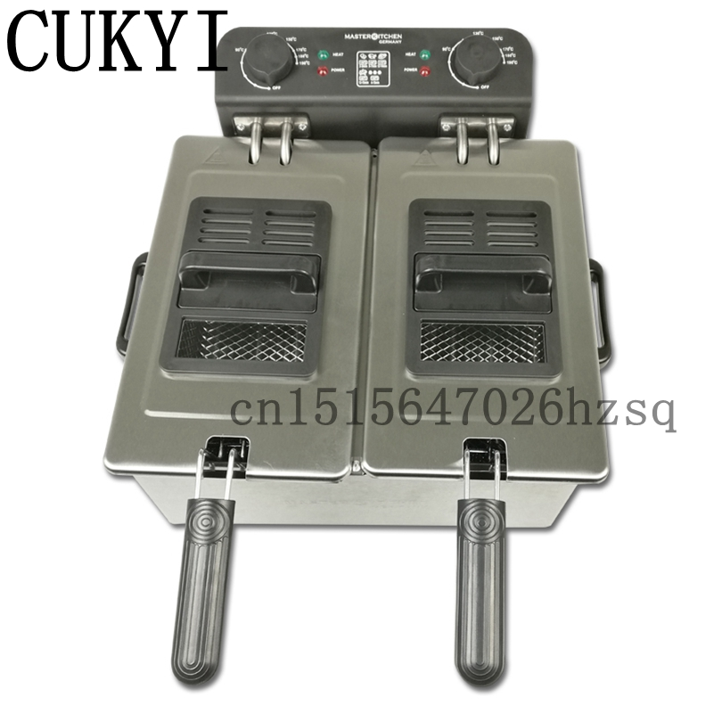 CUKYI Commercial Electric Deep Fryers household double cylinder frying pan Stainless steel 6L big capacity cukyi household electric multi function cooker 220v stainless steel colorful stew cook steam machine 5 in 1