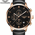 2016 GUANQIN Top Brand Watch Men Fashion  Quartz Watch  With Leather Watchband and  Male Waterproof Clock  relogio masculino