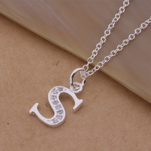 Free Shipping Silver Necklaces & Pendants Fashion Silver Jewelry letter S /ecfamtma amiajdpa AN225 ...